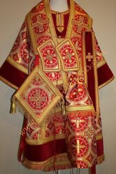 Orthodox Bishopand039s Vestments Metallic Brocade Red Gold Combined Red Velvet