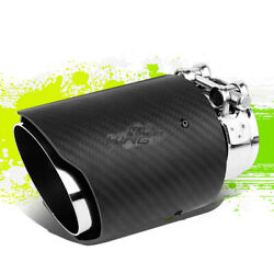 Real Carbon Fiber Racing Exhaust Catback Muffler 3.5od Tip+clamp For 2.5 Pipe