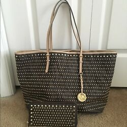 2pc Michael Kors Jet Set Travel Signature Brown Studded Tote Bag+matching wallet