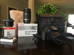 Canon Eos T1i With Efs55-250 Mm And 50 Mm Zoom Lenses And Remote Control
