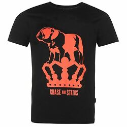 Chase and Status Bulldog T-Shirt Mens Black Casual Wear Top Tee Shirt