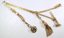 Victorian Art Nouveau 14k Yellow Gold Vest Watch Chain W 4 Fobs Fist And Enamel