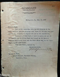 1908 Seaboard Airline Railway Letter Portsmouth Va Tennessee Central Railroad