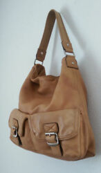 VTG Michael Kors Designer Tan Leather Hobo Bag Purse Clean modern MediumLarge