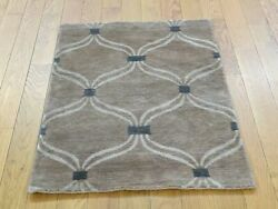 2and039x3and039 Handknotted Wool And Silk Modern Design Taupe Oriental Rug G34947