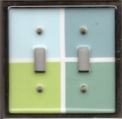 Double Toggle Switch Wall Plate Cover Ceramic Blue Green Brushed Nickel Pre-Own