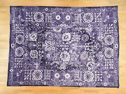 9'x12' Purple Wool And Silk Handknotted Tone On Tone Tabrez Rug G37529