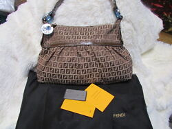 NEW FENDI women's designer canvas MONOGRAM leather BROWN shoulder bag