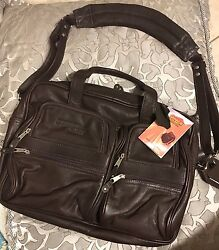 Canyon Outback Leather Briefcase Laptop Shoulder Bag Brown New Promo Advertising