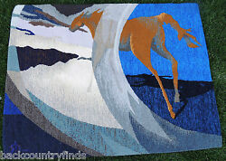 Horse Tapestry By Susan Hart Henegar 42 X 56 Methods Of Travel Blue And White 1991
