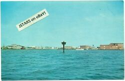 C. 1965 Crisfield Md Waterfront View Texaco Gas Sign Postcard