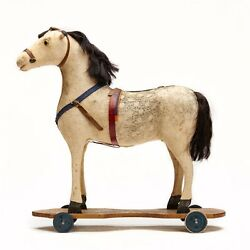 Antique American Toy Pull Along Horse On Wheels 19th C.