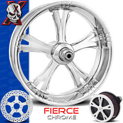 Xtreme Machine Fierce Chrome Wheel Front Package Tire Harley Baggers 21 Pm