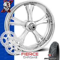Xtreme Machine Fierce Chrome Motorcycle Wheel Front Package Rotors Harley 21 Pm