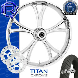 Rotation Titan Chrome Custom Motorcycle Wheel Front Package Harley Touring 26