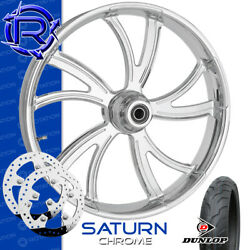 Rotation Saturn Chrome Custom Motorcycle Wheel Front Package Harley Touring 21