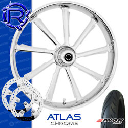 Rotation Atlas Chrome Custom Motorcycle Wheel Front Package Harley Touring 23