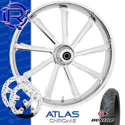 Rotation Atlas Chrome Custom Motorcycle Wheel Front Package Harley Touring 21