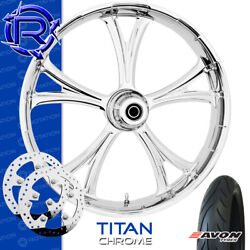 Rotation Titan Chrome Custom Motorcycle Wheel Front Package Harley Touring 23