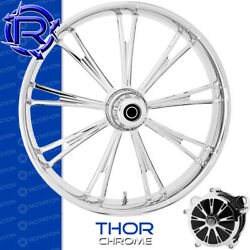 Rotation Thor Chrome Custom Motorcycle Wheel Front Harley Touring Baggers 21