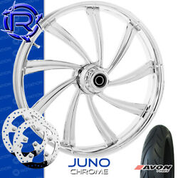 Rotation Juno Chrome Custom Motorcycle Wheel Front Package Harley Touring 23