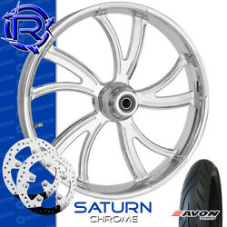 Rotation Saturn Chrome Custom Motorcycle Wheel Front Package Harley Touring 23