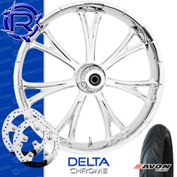 Rotation Delta Chrome Custom Motorcycle Wheel Front Package Harley Touring 23