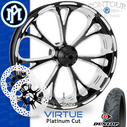 Performance Machine Virtue Platinum Cut Wheel Front Package Harley Touring 21