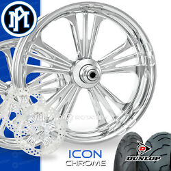 Performance Machine Icon Chrome Motorcycle Wheel Full Package Harley 21 17 PM