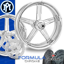 Performance Machine Formula Chrome Motorcycle Wheel Full Package Harley 21 17 PM