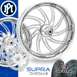 Performance Machine Supra Chrome Motorcycle Wheel Full Package Harley 21 17 PM