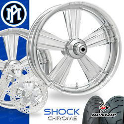 Performance Machine Shock Chrome Motorcycle Wheel Full Package Harley 21 17 PM