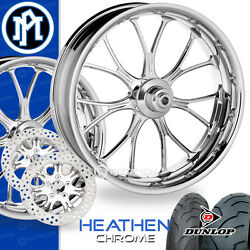 Performance Machine Heathen Chrome Motorcycle Wheel Full Package Harley 21 17 PM