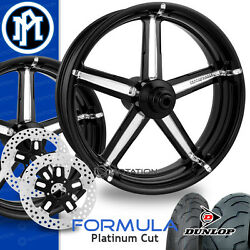 Performance Machine Formula Platinum Cut Motorcycle Wheel Full Package Harley PM