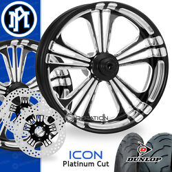 Performance Machine Icon Platinum Cut Motorcycle Wheel Full Package Harley PM