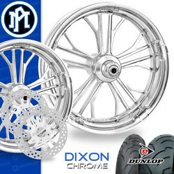 Performance Machine Dixon Chrome Motorcycle Wheel Full Package Harley 21 17