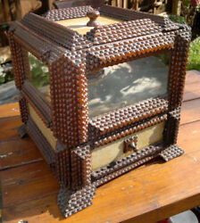 Large Antique Tramp Art Box Folk Art Sewing Chest With Old Float Glass Mirrors