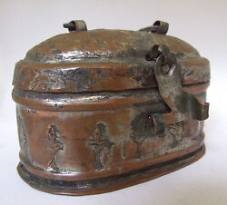 Scarce Antique Pre Civil War Tea Caddy Copper Brass Hand Made Pounded