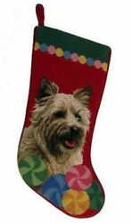 Cairn Terrier Christmas Stocking 100% Wool Hand-Stiched Needlpoint: Precious