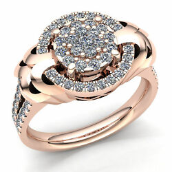 Real 2ctw Round Cut Diamond Ladies Cluster Halo Engagement Ring 14k Gold