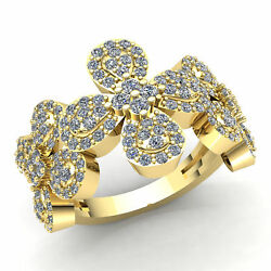 3ctw Round Cut Diamond Ladies Personalized Flower Cluster Fancy Ring 18k Gold