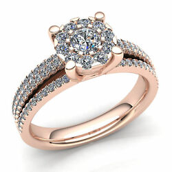 Genuine 2ct Round Cut Diamond Womenand039s Bridal Cluster Engagement Ring 14k Gold