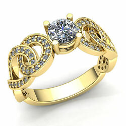 Natural 1.5carat Round Diamond Ladies Fancy Solitaire Engagement Ring 18k Gold