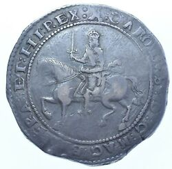 Scarce Charles I Crown 1645 Mm. Castle Exeter Mint British Silver Coin