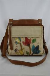 FOSSIL Canvas & Leather Embroidered Crossbody Bag Handbag - New with Tags