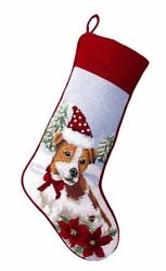 Jack Russell Terrier Needlepoint Dog Christmas Stocking
