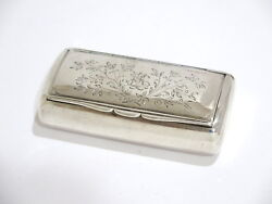 3.25 In Sterling Silver Antique Swedish C. 1899 Etched Floral Pattern Snuff Box
