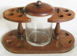 Duk-it Vintage American Walnut Wood 8 Pipe Rack Holder Stand W/ Glass Humidor