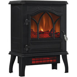Electric Infrared Quartz Stove Heater Fireplace Chimney Free with Door 5200 BTU