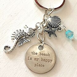 The Beach is My Happy Place Silver Charm Keychain Gift for Ocean Lovers